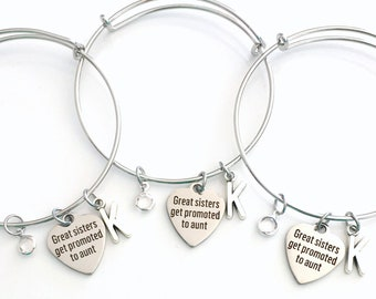 Gift for New Aunt, Set of 2 3 4 5 6 Jewelry Great sisters get promoted to Aunt Charm Bracelet Bangle Silver Matching from Niece Nephew her