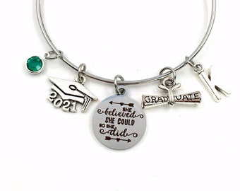 She believed she could so she did Graduation Gift for Her, 2021 Grad Charm Bracelet Present for Daughter, Granddaughter, Niece Best Friend