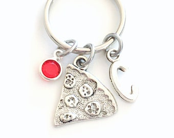 Pizza KeyChain, Slice of pizza Key Chain, Silver Charm Keyring, Italy Italian Food Gift for Teenager Girl Teen Teenage initial birthstone