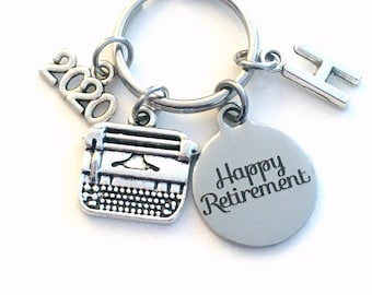 Retirement Gift for Her, Secretary Keychain, 2021 Assistant Key chain with letter Initial Retire Author Writer present men women woman him
