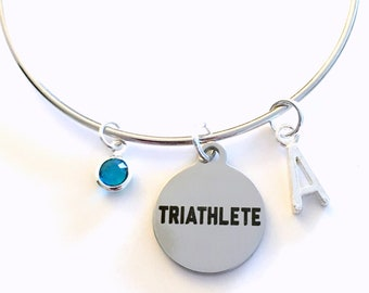 Triathlete Jewelry, Gift for Athlete Charm Bracelet Silver Bangle Woman Personalized Initial Birthstone birthday gift Christmas present her