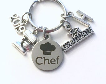 Graduation Present for Chef Keychain, 2019 Culinary Key Chain, Graduate Grad Keyring with Initial letter, Cooking Pastry men Women man