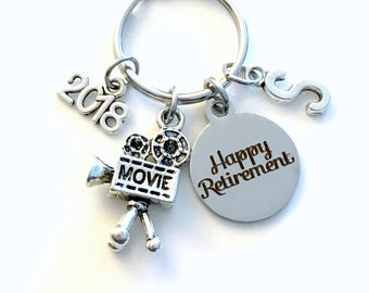 Retirement Gift for Him, Video Camera Keychain, 2018 Visual Arts Director Key chain Keyring Retire Initial letter Her Actor Actress man men