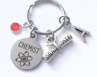Graduation Gift for Chemist KeyChain, Chemistry Grad Present, Key Chain Keyring Jewelry Initial Birthstone present women men her him Bsc