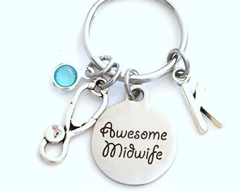 Gift for Midwife Keychain, Awesome Mid Wife Key Chain Keyring Jewelry Initial Birthstone present women men him her stethoscope nurse doula