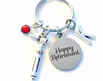 Retirement Gift for Otolaryngologist Keychain, ENT Doctor Key chain Ear Scope Audiology Otoscope Initial letter men women her him birthstone
