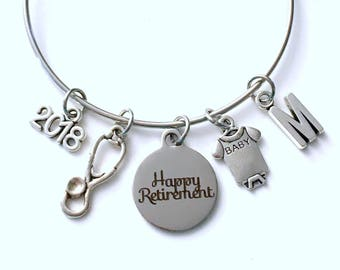 Retirement Gift for Neonatal NICU Nurse Charm Bracelet, 2018 Jewelry Silver Bangle women initial Present her Pediatric Public Health Nursing