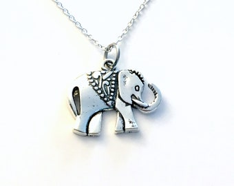Silver Elephant Necklace, Animal Pendant, Flat Zoo African Jewelry Circus Lover's Gift Ideas Long Short Sterling Chain Boy man women