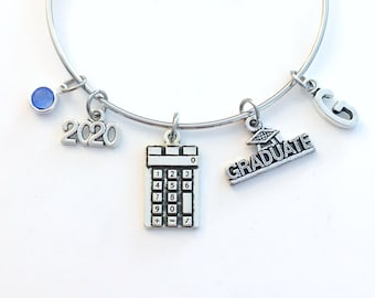 High School Graduation Bracelet, Calculator Math Gift for 2020 Student Grad Bangle University Jewelry College Masters Initial Letter