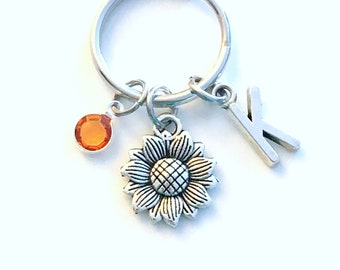 Sunflower Keychain, Flower Key Chain, Bridesmaid Present, Sun Flower Keyring, Personalized Custom, Nature Gift for Best Friend BFF