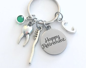 Retirement Gift for Dental Hygienist Keychain, Dentist Assistant KeyChain, Toothbrush Key Chain Tooth Brush Keyring Initial Birthstone her