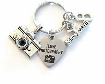 Photography Graduation Gift 2018, Photographer's KeyChain, Camera Key chain for Photo Student Graduation Keyring I love initial film her him