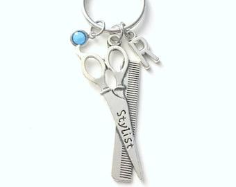 Gift for Hairdresser Keychain, Hair Dresser Key Chain, Stylist Keyring, Hair Salon Birthday Present Christmas Custom Personalized Birthstone