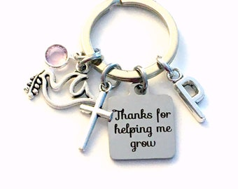 Religious Teacher Keychain, Confirmation Gift for Catechism Instructor Present, Cross Key Chain, Dove Jewelry Thanks for helping me grow you