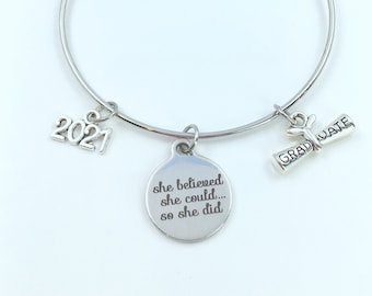 2021 Graduation Gift for Under 20 dollars, Charm Bracelet Junior High School Silver Bangle Jewelry She believed she could so she did