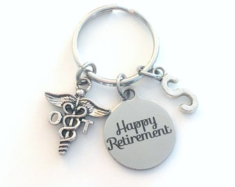 OT Retirement Keychain, Gift for Occupational Therapist Key Chain, Caduceus Keyring Initial letter men women him birthstone present therapy
