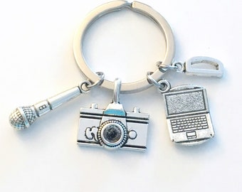 Gift for Social Media Keychain, Blogger Key Chain, PR Public Relations Keyring, News Reporter, Blog Laptop Microphone, Journalist Camera man