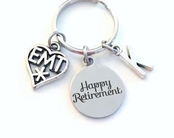 Retirement Gift for EMT Keychain, 2020 Medical Paramedic Symbol Boss Him Her Dad Key chain, Keyring Coworker EMS star of life Men Women