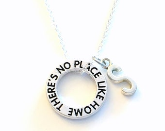 Wizard of Oz Necklace, Theres no place like home Jewelry, Wicked the musical Silver Circle Charm Gift for Teenager Girl Teenage Daughter son