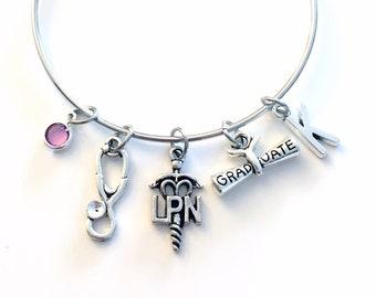 Nursing Graduation Bracelet Gift for LPN Charm Bracelet, Medical Caduceus Licensed Nurse Practitioner Jewelry Bangle initial Birthstone her