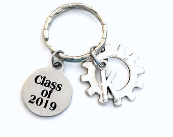 Mechanical Engineer Graduation KeyChain, Class of 2019 2018 2020 2021 Grad Present Gear Key Chain Gift for Mechatronics Mechanic Men Women