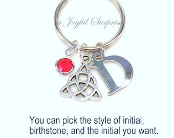 Celtic Keychain, Irish Symbol, Silver Celtic Knot Gift, Keyring Key chain Triangle Initial Birthstone Personalized woman men letter custom