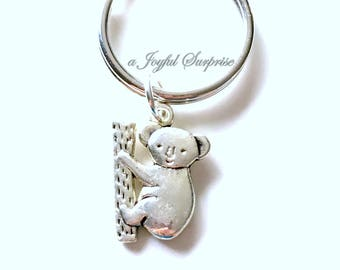 Koala Key Chain, Bear Keyring, Animal Key chain, Sloth Climbing Kuala Jewelry birthday present Christmas Gift Australian Symbol Zoo silver