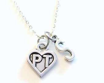 PT Necklace, Gift for Physical Therapist, Therapy Jewelry, Silver Heart Charm Personalized for birthday present men women him her coworker