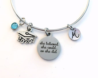 2020 Grad Cap Charm Bracelet, Graduation Gift for Teenage Girl Jewelry Silver Bangle, She believed she could so she did can hat mortar board