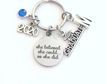 College Graduation Gift for University Keychain, High School 2020 She believed she could so she did can Canadian Made initial birthstone her