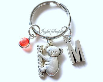 Koala KeyChain, Koala Bear Keyring, Animal Key chain Climbing Kuala Jewelry Personalized Initial Birthstone birthday present Christmas Gift