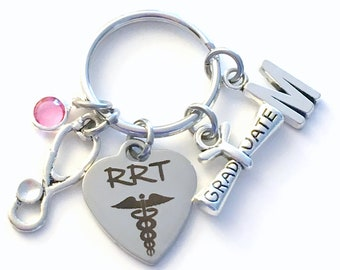 RRT KeyChain, Stethoscope Key Chain, Graduation Gift for Registered Respiratory Therapist ring, rapid response team Jewelry Initial therapy