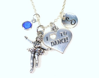 Stepdance Necklace, I love to Dance Charm Jewelry, Irish Dancer, Gift for Step Teacher Line Square Initial Birthstone Personalized Teen Girl