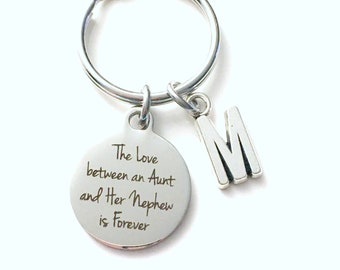 Gift for Nephew from Aunt Keychain, The Love between an Aunt and her Nephew is Forever Baptism Key Chain Letter Initial Present Jewelry him