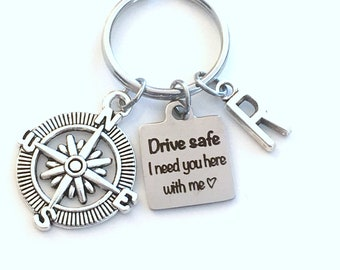Drive safe I need you here with me Keychain, Birthday Day Gift for Boyfriend Key Chain, Teenage Boy Girl, Man Men Keyring, Compass Him Son