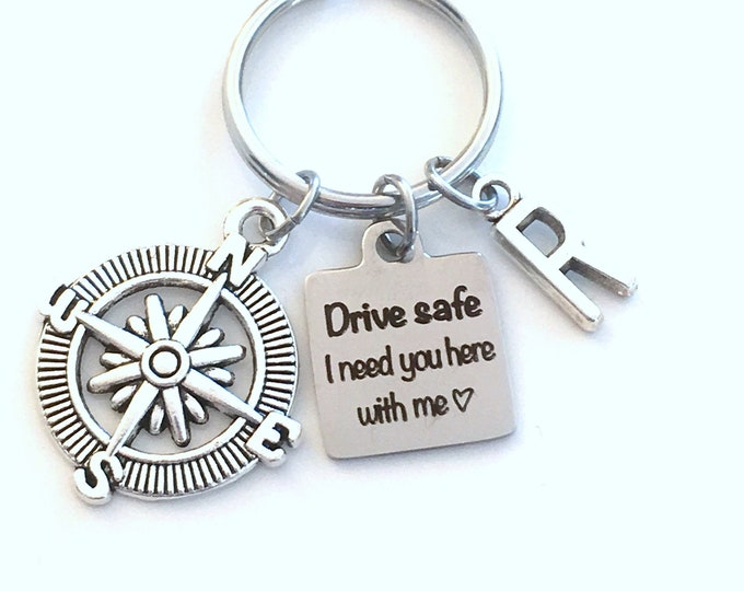 Featured listing image: Drive safe I need you here with me Keychain, Christmas Gift for Boyfriend Key Chain, Teenage Boy Girl, Man Men Keyring, Compass Him Teen her