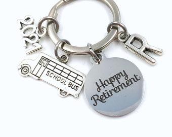 Retirement Gift for School Bus Driver Keychain / 2021 Crossing Guard Present / Teacher Keychain / Him Her Keyring Retire Coworker men women