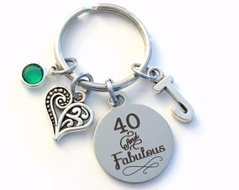 40th birthday gifts for women Keychain, Forty and Fabulous Key Chain, 40 40th her Birthstone Initial Present Jewelry Fortieth best friend