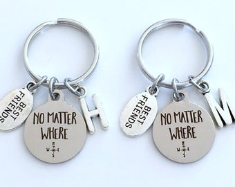No Matter Where Key Chain, Going away Gift for Best Friend KeyChain, Set of 2 BFF him boyfriend Initial compass long distance relationship