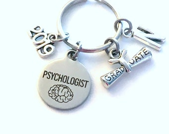 Psychologist Graduation Gift, 2019 Psych Student Keychain for Psychology Grad Key Chain Doctor Keyring Graduate initial letter man men 2019