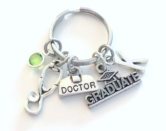 Graduation Gift for General Practitioner Keychain, Family Doctor Key chain, Physician Bag Student Keyring, Grad Initial Medical Stethoscope