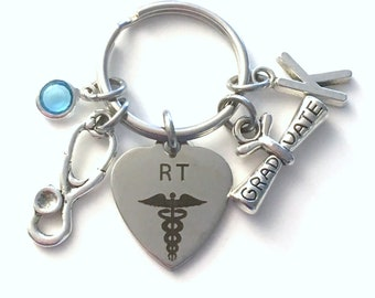 Graduation Gift for RT Keychain, Respiratory Therapist Key Chain, Therapy Nurse, Present Stethoscope Keyring Initial Birthstone women men