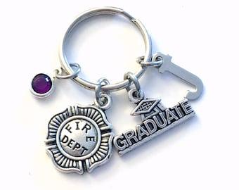 Graduation Gift for Firefighter Keychain, Firewomen or Fireman Key Chain Emblem Maltese Cross Keyring Fire Department her graduate men women