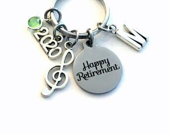 Band Teacher Retirement Gift Keychain, 2020 for Music Key chain, Treble Note Keyring Coworker Initial letter birthstone women professor her