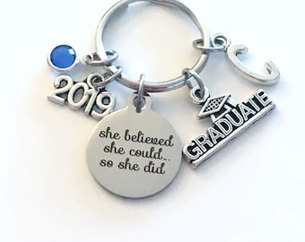 College Graduation Gift for University Keychain, High School 2019 She believed she could so she did can Canadian Made initial birthstone her