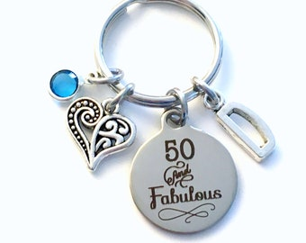 50th birthday gifts for women Keychain, Fifty Key Chain, 50 and Fabulous her Birthstone Initial Present Jewelry Mother Age Mom Best Friend