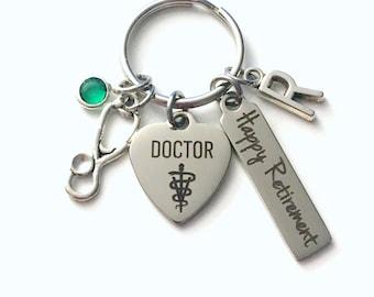 Retirement Gift for Veterinarian Keychain, Vet Animal Doctor Keyring, Retire Key Chain Present him her women Men Co worker coworker