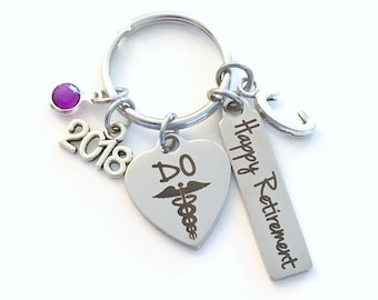 Retirement Gift for Osteopath KeyChain, 2018 Doctor of Osteopathic Key chain Present Women Men Retire Keyring him her Personalized Custom DO