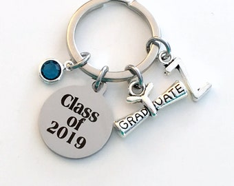 Class of 2019 KeyChain, or 2018 2017 2020 2021 Grad Key Chain, Gift for Graduate Graduation Scroll Birthstone Initial High School College