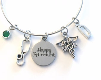 Retirement Gift for MD Bracelet, Medical Doctor Jewelry, Ph D Physician Charm Bangle, PHD Silver Medical Caduceus Stethoscope birthstone her